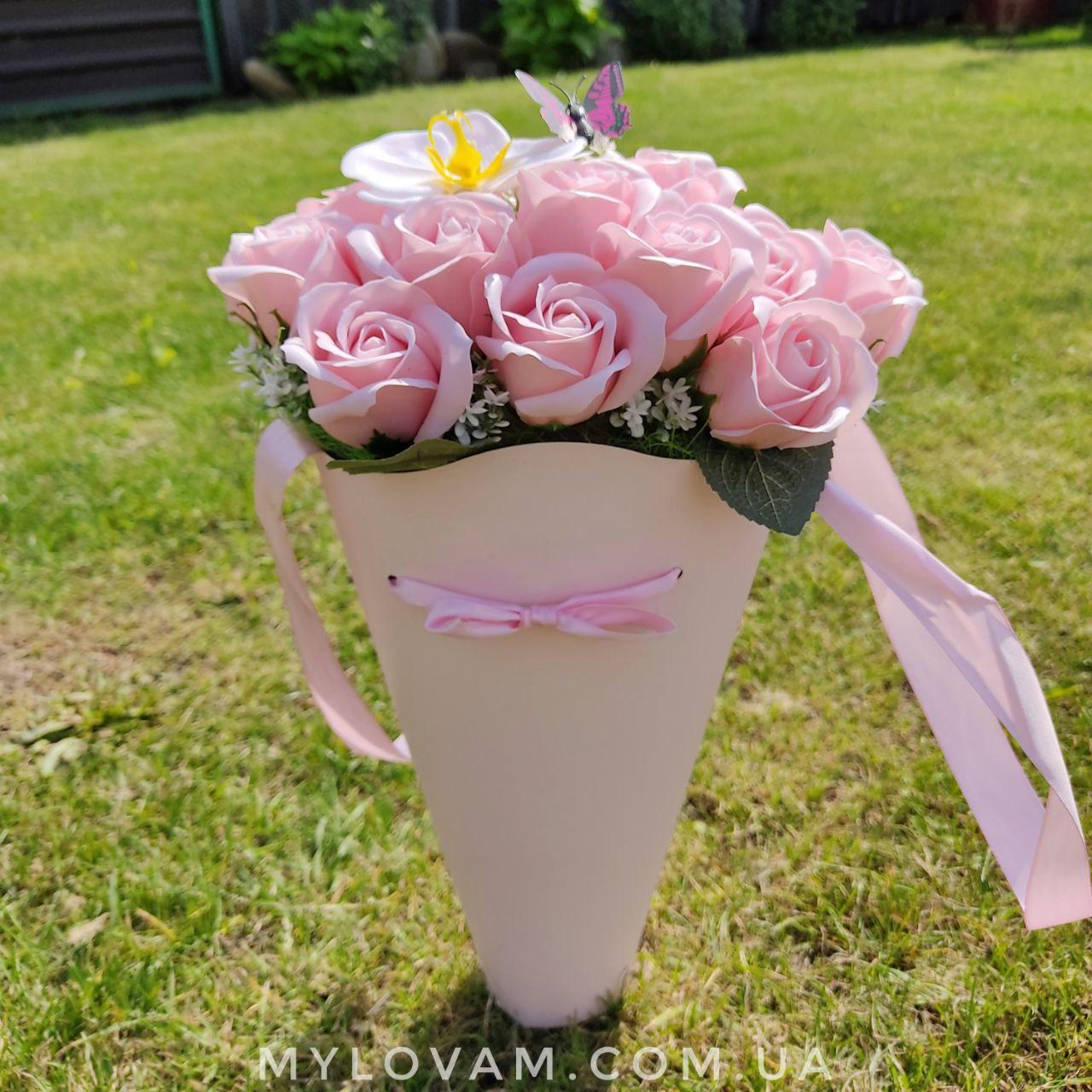 Букет з мила ручної роботи, мильна букет Орхідея, букет троянд