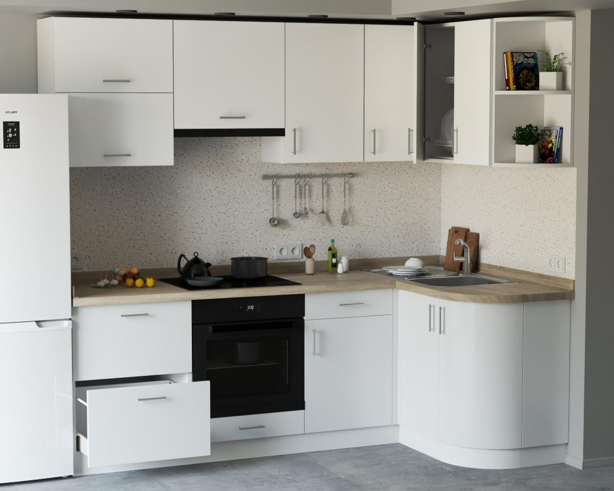 Кутова кухня з фасадами з пластику на основі МДФ довільної конфігурації. На фото - 2.3×1.3 м