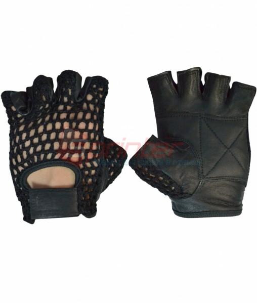 Перчатки для тяжелой атлетики М. Кожа+сетка