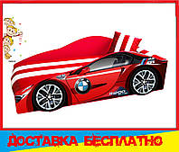 Кровать машина с матрасом Bmw красная