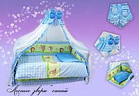 Детский постельный комплект Quatro Lux 8 элементов.(Лесные звери синий)