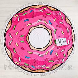 """Круглое пляжное полотенце, покрывало """"Пончик"""",диаметр 150 см + подарок"""