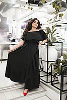 Женское длинное платье из софта с воланами Батал, фото 1