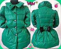 Детский модный теплый плащик на синтепоне для девочки / мята
