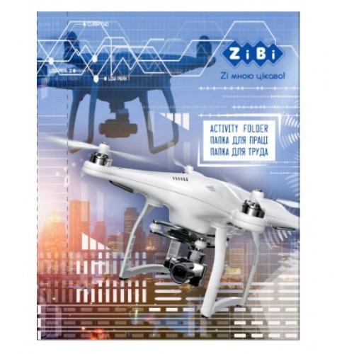 Папка для труда А4 + Zibi DRONE картонная на резинках (315х215х30мм) KIDS Line