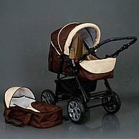 Детская коляска-трансформер шоколадно-бежевая с люлькой переноской Viki 86 Karina деткам от рождения до 3 лет