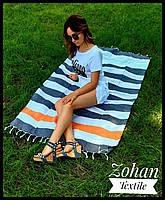 Пляжный коврик/покрывало для моря и пикников серое с белым 180х100 в полоску Турция