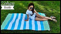 Полосатый пляжный коврик для моря и пикников 180х100 в полоску зеленое  с голубым Турция