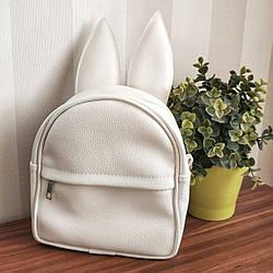 Рюкзак-сумка с ушками зайца, белый (RKU_011_WH)