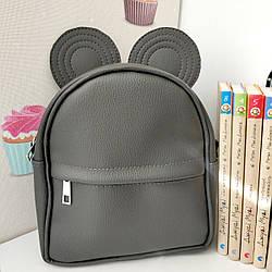 Рюкзак-сумка с ушками мышки, серый (RKU_013_SE)