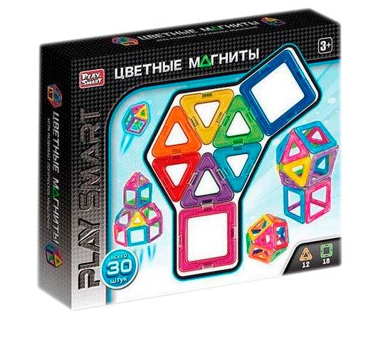 """Магнитный конструктор """"Цветные магниты"""" Play smart 30 деталей"""