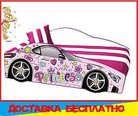 Кровать машина с матрасом Принцесса розовый