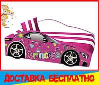 Кровать машина с матрасом Принцесса малиновый