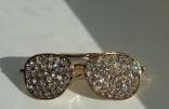 Значок брошь брошка металл отличное качество очки золотистые камни, фото 3