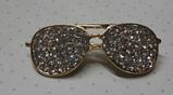 Значок брошь брошка металл отличное качество очки золотистые камни, фото 4