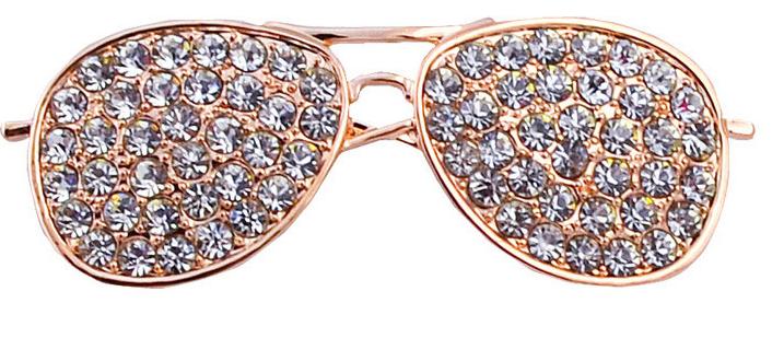 Значок брошь брошка металл отличное качество очки золотистые камни