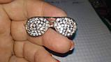 Значок брошь брошка металл отличное качество очки золотистые камни, фото 2