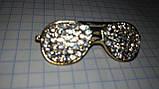 Значок брошь брошка металл отличное качество очки золотистые камни, фото 6