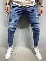 Синие рваные джинсы мужские, модные зауженные джинсы , молодежные потертые узкие джинсы(весна, осень) турецкие