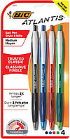 Ручки автоматичні BIC Atlantis Retractable Pen, 1.0mm, Assorted, 4 Pens per Pack (VCGP41-Ast) (B002JF29GC)