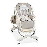 Раскладной стульчик для кормления «DOLCE» M 3236 SMART GRAY светло-серый для мальчика или девочки