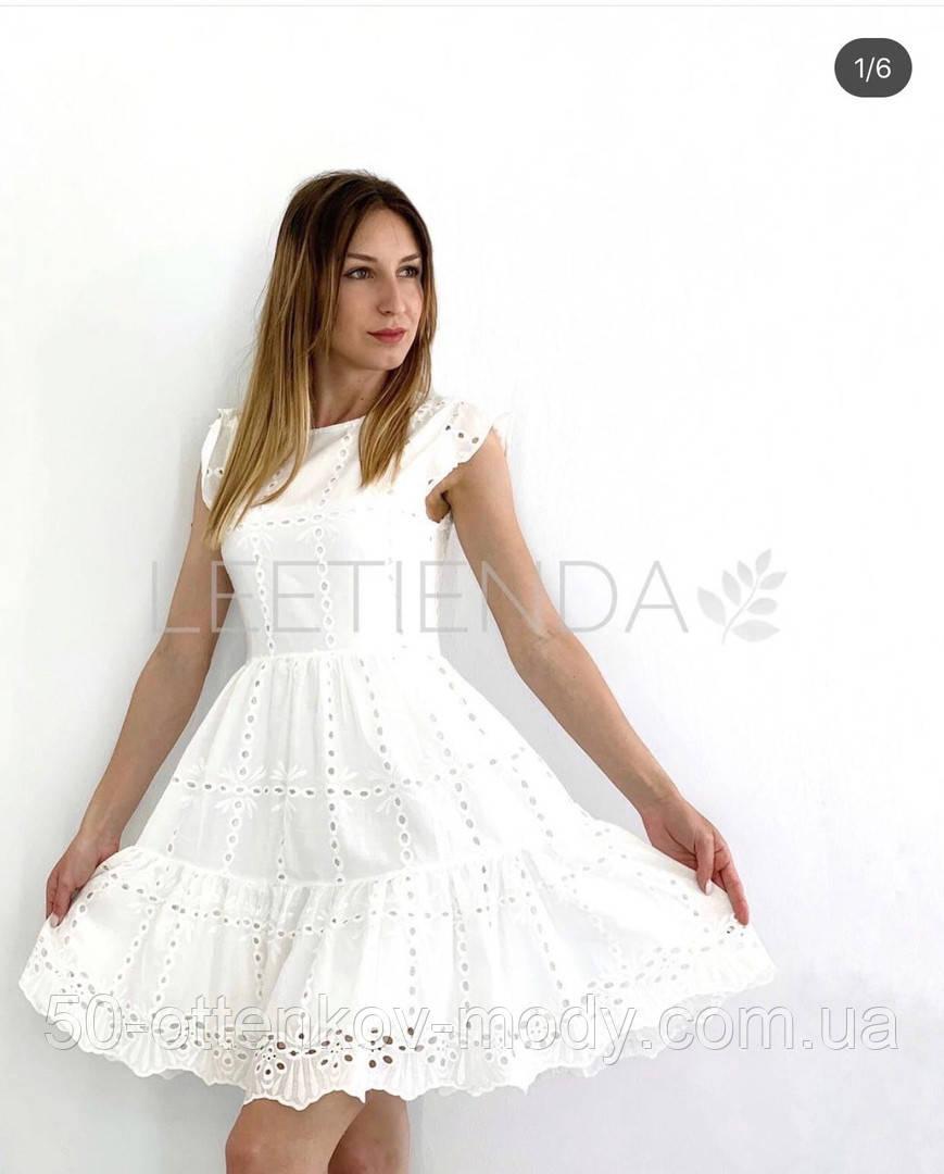 Женское платье из прошвы с поясом, белое, беж, голубое, пудра