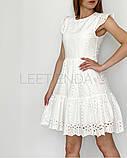 Женское платье из прошвы с поясом, белое, беж, голубое, пудра, фото 2