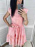 Женское платье из прошвы с поясом, белое, беж, голубое, пудра, фото 3