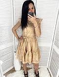 Женское платье из прошвы с поясом, белое, беж, голубое, пудра, фото 5