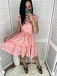 Женское платье из прошвы с поясом, белое, беж, голубое, пудра, фото 4
