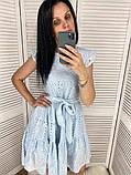 Женское платье из прошвы с поясом, белое, беж, голубое, пудра, фото 7