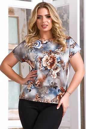 Блузка 5637 серо-голубая, фото 2