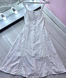 Женское платье миди из прошвы, белое, пудра, фото 3