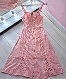 Женское платье миди из прошвы, белое, пудра, фото 2
