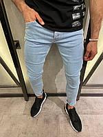 Голубые мужские рваные джинсы зауженные, модные турецкие синие джинсы