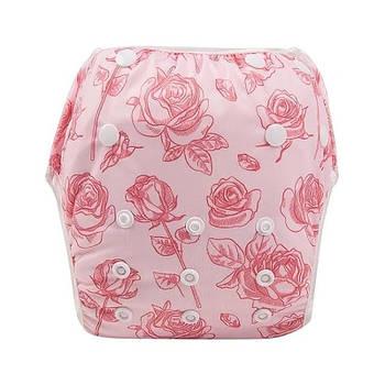 Многоразовые трусики для плавания от рождения Berni Маленькие розочки 3-10 кг Розовые (51959)