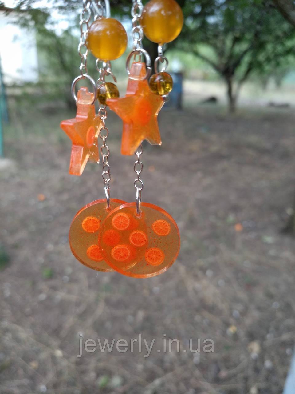 Оранжевые серьги мандарины из ювелирной смолы