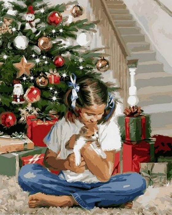Картина за номерами Babylon Різдвяний подарунок 40*50 см арт.VP785