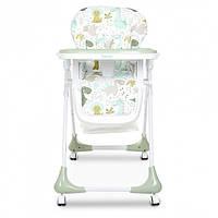 Раскладной стульчик для кормления DOLCE M 3233 DINO PINE GREEN  бирюзовый для мальчика девочки. Динозаврики