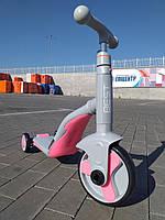 Самокат трансформер 3 в 1 свет музыка Best Scooter самокат беговел трехколесный велосипед 3-8 лет Серый с роз