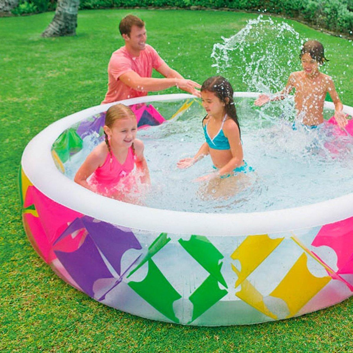 Детский надувной бассейн Intex 56494 «Колесо»,229х56 см,надувное дно