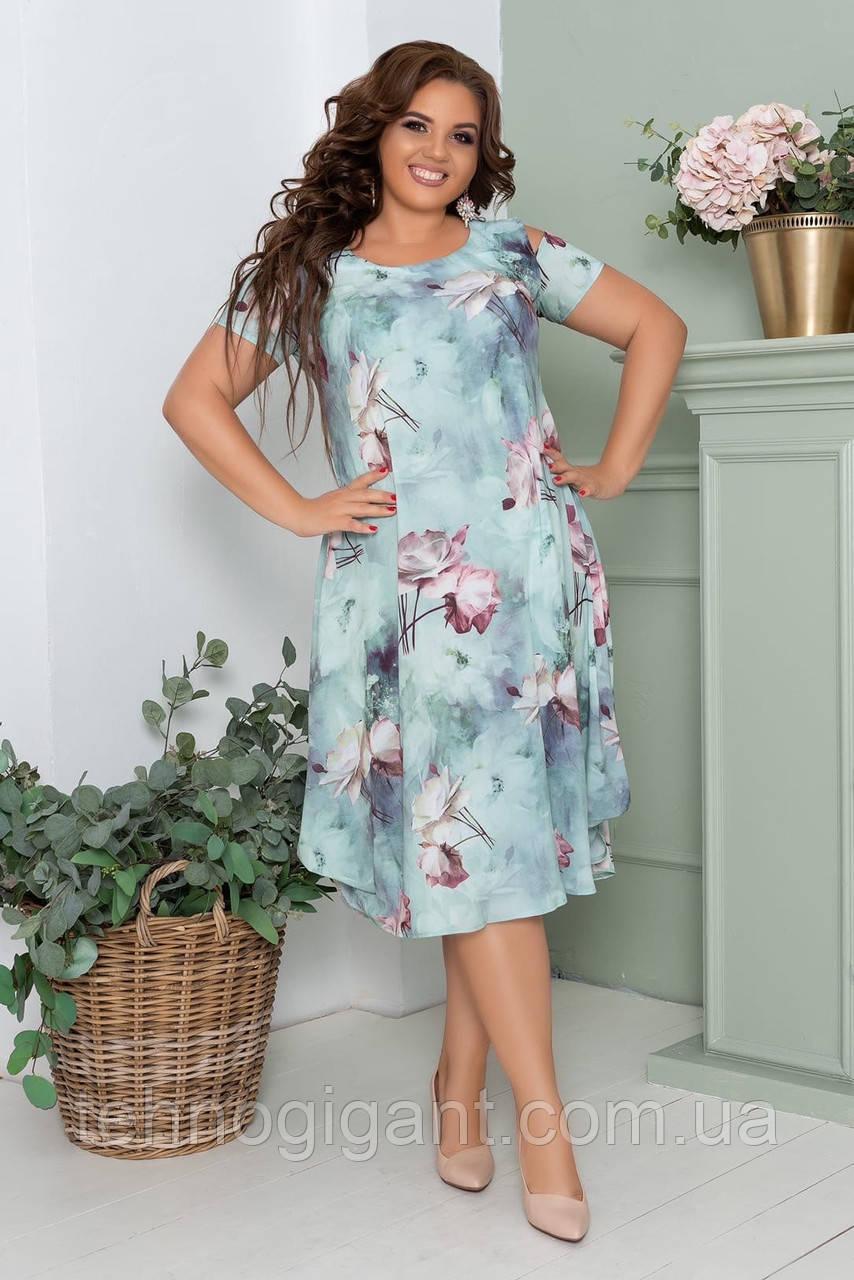 Нарядное летнее шифоновое платье больших размеров 50,52,54,56, на подкладке, цветочный принт, Зеленое
