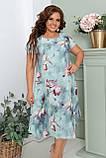 Нарядное летнее шифоновое платье больших размеров 50,52,54,56, на подкладке, цветочный принт, Зеленое, фото 2