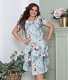 Нарядное летнее шифоновое платье больших размеров 50,52,54,56, на подкладке, цветочный принт, Зеленое, фото 3