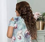 Нарядное летнее шифоновое платье больших размеров 50,52,54,56, на подкладке, цветочный принт, Зеленое, фото 5