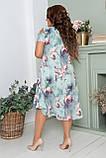 Нарядное летнее шифоновое платье больших размеров 50,52,54,56, на подкладке, цветочный принт, Зеленое, фото 6