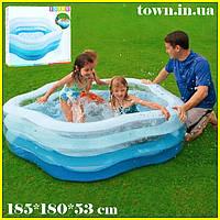 """Детский надувной бассейн Intex,185*180*53 см """"Морская звезда""""с надувным дном.Большой, дачи, для детей 56495"""