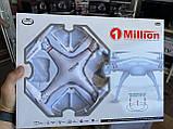 Квадрокоптер 1 million c hd камерой и WIFI, на пульте, радиоуправляемый коптер, летающий дрон с камерой Белый, фото 2