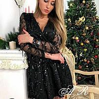 Вечернее платье с пайетками на фатине, 00008 (Чёрный), Размер 44 (M)