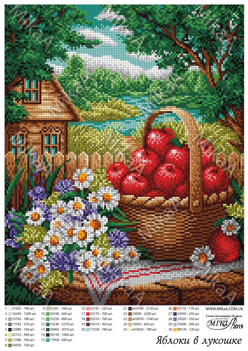 """Схема для  полной зашивки бисером - """"Яблоки в лукошке"""""""